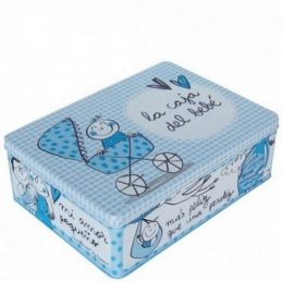 Caja metal bebé azul