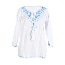 Camisa blanca bordado azul