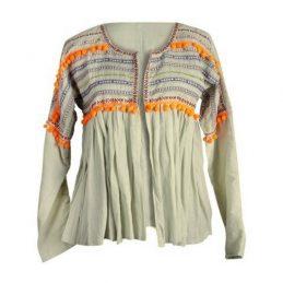 camisa con borlas naranjas