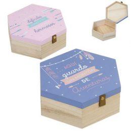 Caja madera plumas
