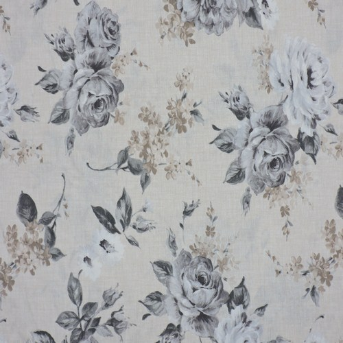 Loneta estampada flores grises chambao decoraci n - Chambao decoracion ...
